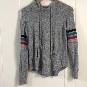 Grey pink rose sweatshirt